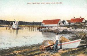 Portland Maine East Side Long Island Lobster Cages Postcard JE229328