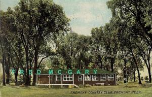 1910 Fremont Nebraska Postcard: Fremont County Club, Gorgeous Flag Cancel