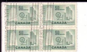 Canada, Used Block of Four, Textiles, 50 Cent Stamp, Scott #334,