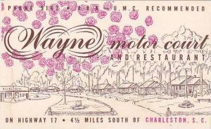 South Carolina Charleston Wayne Motor Court And Restaurant