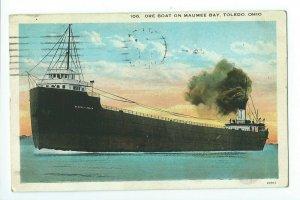 Postcard Ore Boat On Maumee Bay Toledo Ohio 1926 VPC01.