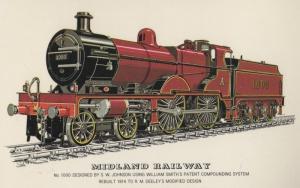 Midland Railway 1000 SW Johnson 1914 WW1 William Smith Locomotive Train Postcard
