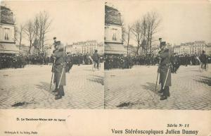 Stereographic stereo view postcard military music band fanfare major drum