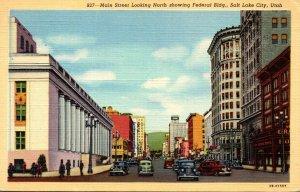Utah Salt Lake City Main Street Looking North Showing Federal Building 1945 C...