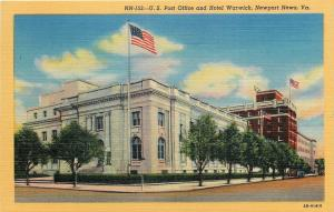 Newport News Virginia~US Post Office~Hotel Warwick~Flag~Trees~1940s Postcard