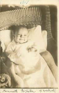 1917 RPPC Postcard Happy Smiling Infant Kenneth Weston in Wicker Chair Unposted