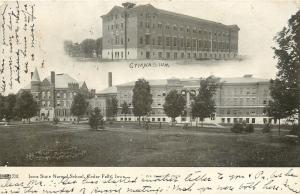 Cedar Falls Iowa~Iowa State Normal School~Now UNI~Gymnasium~Campus~1907 B&W