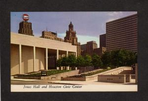 TX Jones Hall Houston Texas Civic Center Ctr Postcard Gulf Oil Sign Gasoline