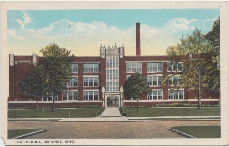 Ohio Postcard 1928 DEFIANCE High School Building
