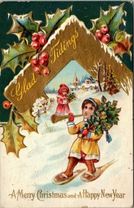 1910 - GLAD TIDINGS POSTCARD  - MERRY CHRISTMAS & HAPPY NEW YEAR SNOWSHOE