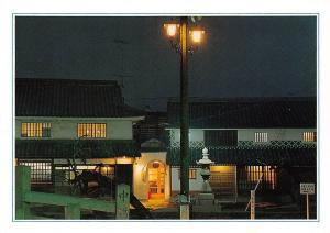 Japan Houses Night view Street Lamp Maisons