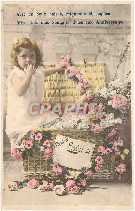 Old Postcard With Cute Sweet Kiss Offer messenger all my Wishes Happy Birthda...
