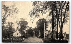 Postcard ME Chesterville 1911 View of Main Street Pub By A H Black R24