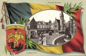 belgium, BRUSSELS BRUXELLES, Kermesse, Grande Place (1910) Coat of Arms, Flag