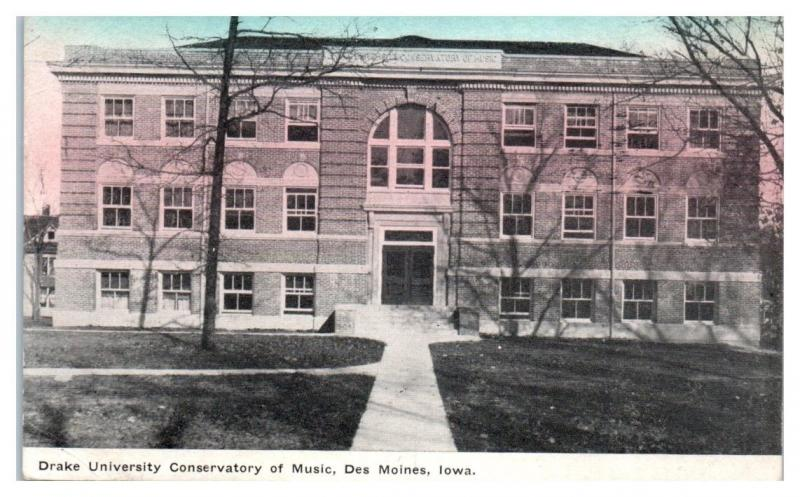 1909 Drake University Conservatory of Music, Des Moines, IA Postcard
