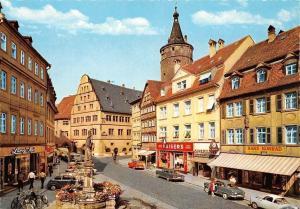 Kitzingen am Main Marktstrasse und Rathaus Town Hall, Statue Street Auto Cars