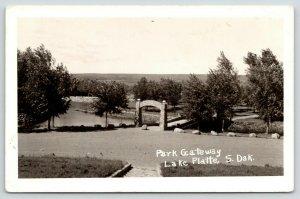 Lake Platte South Dakota~Park Gateway Stone Arch~Bridge~1950s RPPC