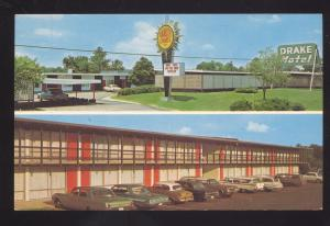 JACKSON MISSISSIPPI DRAKE MOTEL 1960's CARS VINTAGE ADVERTISING POSTCARD