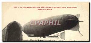 Postcard Old Airship Zeppelin airship Republic Military returning to its hang...