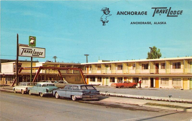 Anchorage Alaska~Anchorage Travelodge~Classic Cars~Station Wagon~1950s Postcard