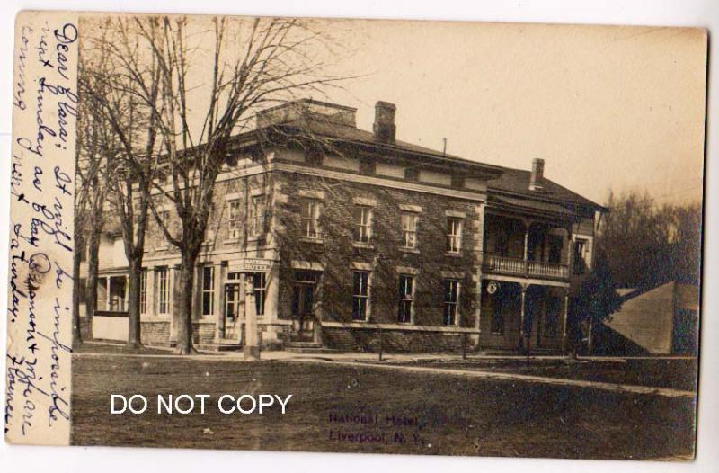 RPPC, National Hotel, Liverpool NY