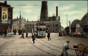 Rotterdam Netherlands Hofplein Nice Trolley Scene c1910 Postcard