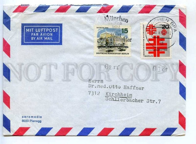 273075 GERMANY WEST BERLIN 1968 year real air post COVER