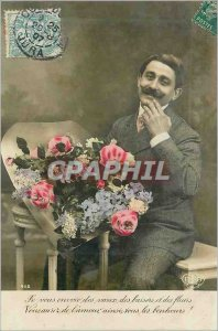 Old Postcard you I Sends Wishes Kisses and Flowers You Will Love and all Bonh...
