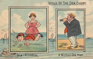 Beach Peeping Tom Binoculars Dirty Old Man Sea Nymph Antique Comic Postcard