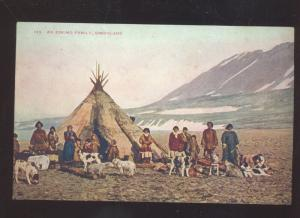 AN ESKIMO INDIAN FAMILY IN GREENLAND VINTAGE POSTCARD INDIANS DOGS