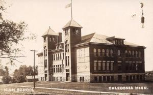 Caledonia Minnesota~Twin Towers of ther High School Postcard RPPC c1909