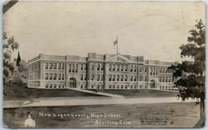 Sterling, Colorado RPPC Real Photo Postcard New Logan County High School 1911