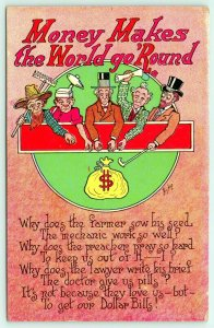 Bishop Comic~Money Makes World Go Round~Farmer~Mechanic~Lawyer~Doctor~$ Bills~