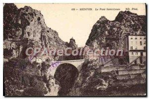 Old Postcard Menton Pont Saint-Louis
