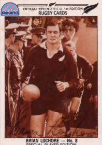 Brian Lochore New Zealand All Blacks Rugby Hand Signed Card Photo