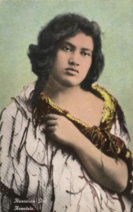 hawaii, HONOLULU, Beautiful Hawaiian Girl (1930s) Postcard