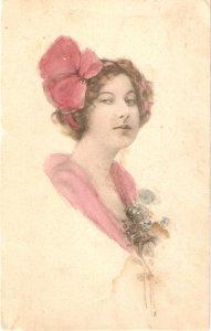 Prettylady. Pink flower in head· Old vintage American PC. Artist drawn