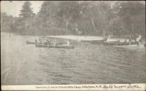 Peterboro NH Sargent School Girls Camp Canoeing c1915 Postcard