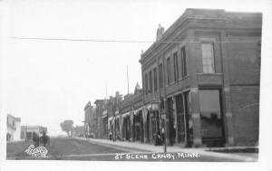 Canby Minnesota~Main Street~Horse Buggy Downhill~Lady @ Store~c1918 RPPC