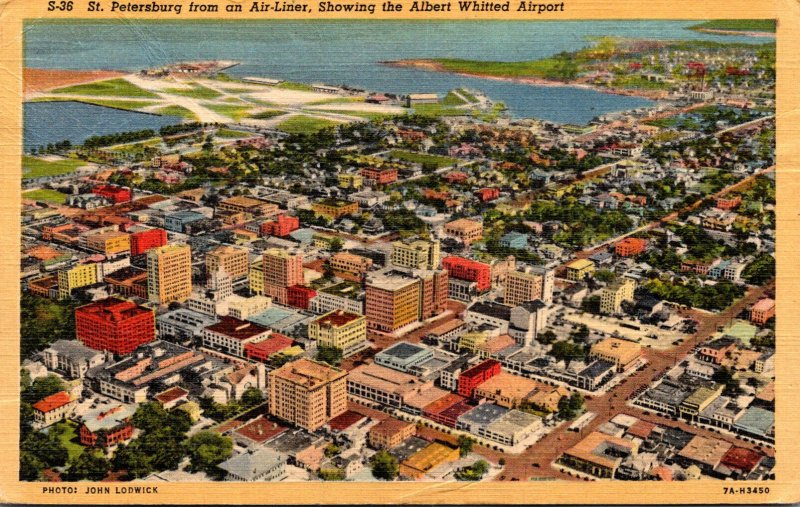 Florida St Petersburg From Airliner Showing Albert Whitted Airport 1944 Curteich