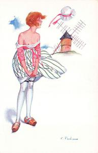 French Partial Nude Wind Mill Signed Fabiano Postcard