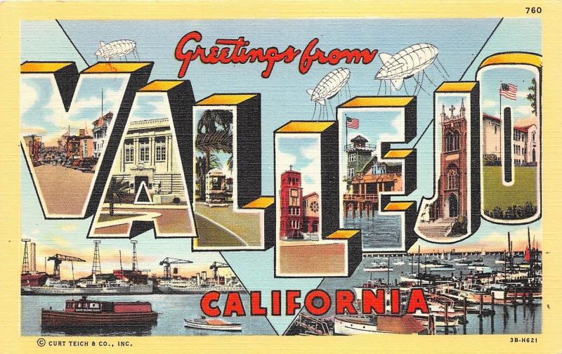 Vallejo California Large Letter Linen Postcard~Marina-Shipping Port-Street Scene