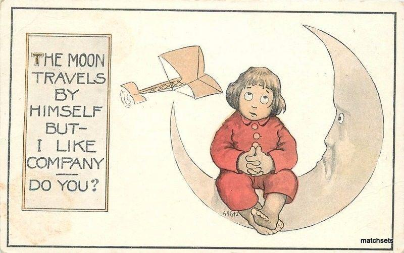 Artist Impression C-1910 Early Aviation Moon humor postcard 749