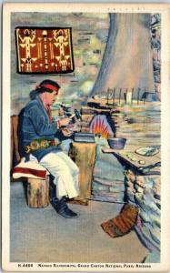 GRAND CANYON National Park LINEN Postcard NAVAJO SILVERSMITH Fred Harvey 1940