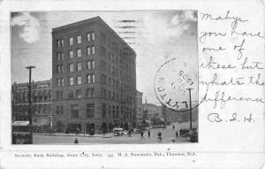 Sioux City Iowa Security Bank Bldg Street View Antique Postcard K50045