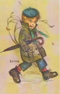 BONNIE: Little Folks Sketch Series: Boy in Blue Beret & Checked Jacket Carryi...