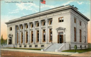 Olympia WA~Federal Courthouse~Postoffice~Doors Flung Open~6 Ornate Columns 1910