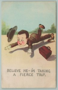 Artist~E B Kemble~Cartoon Man Trips~I'm Taking A Fierce Trip~Loses Hat~Satchel