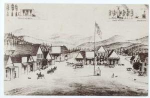 Drawing of Public Square, Surrounding Businesses Placerville, Idaho, ID, Chrome