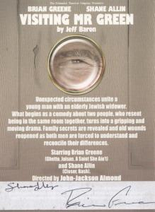 Brian Greene in Visiting Mr Green Jeff Baron Play Hand Signed Theatre Flyer